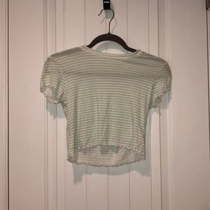 cropped stripped mint green shirt